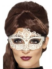 Embroidered Lace Filigree Eye Mask In White